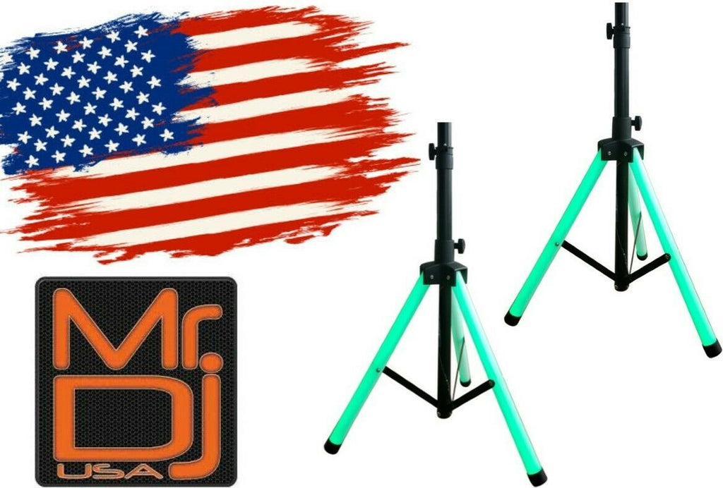 2 MR DJ Universal Light Up Multi Color LED Speaker Stands w/Remote