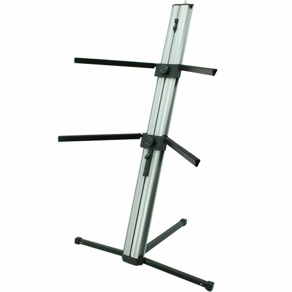 "MR DJ KS1000 Keyboard Stand <br/>Professional 2-Tier Column Keyboard Stand Silver with 5/8"" Mic Mount"