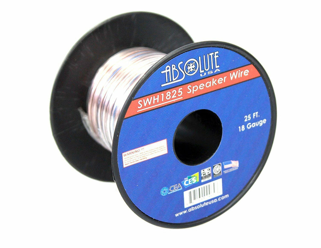 Absolute USA SWH1825 18 Gauge Car Home Audio Speaker Wire Cable Spool 25'