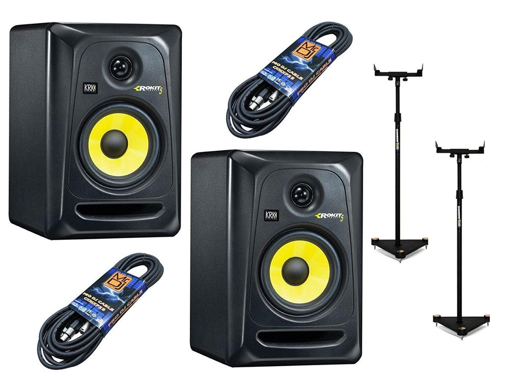 2 KRK RP5G3-NA With Pair Of Samson MS100 Monitor Stands and 2 Mr.DJ 25ft XLR XLR