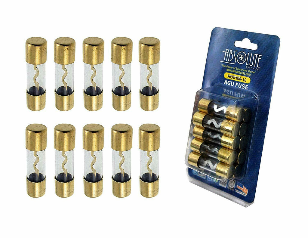 10 PACK Absolute AGU40 40 AMP AGU GOLD PLATED FUSES ROUND GLASS FUSE
