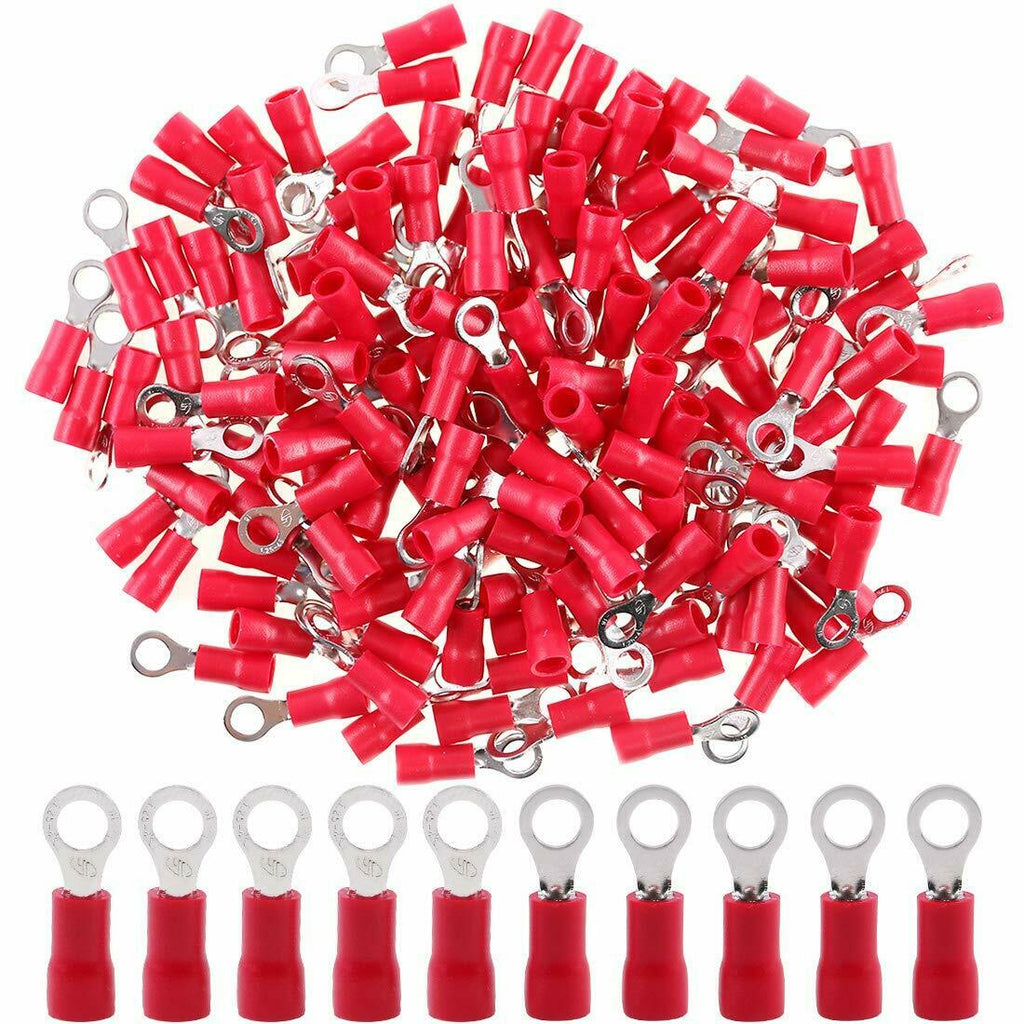MR DJ RT2218R 500<br/>500 pcs #8 XRT2218R 22/16 Gauge Insulated Connectors Ring Terminal