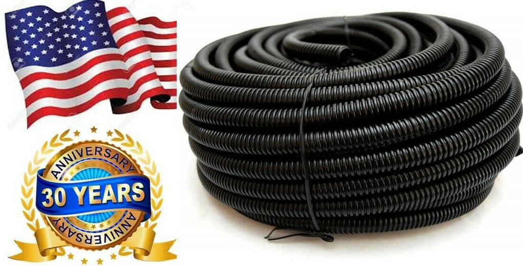 Split Wire Loom Conduit Flex Tubing Cord Cable Wire Protectors Organizer Black