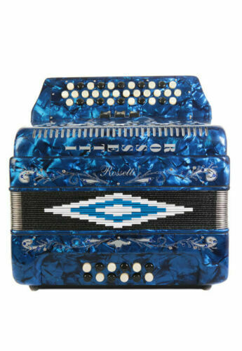 Rossetti 34 Button Accordion 12 Bass 3 Switches FBE Blue