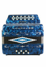 Load image into Gallery viewer, Rossetti 34 Button Accordion 12 Bass 3 Switches FBE Blue