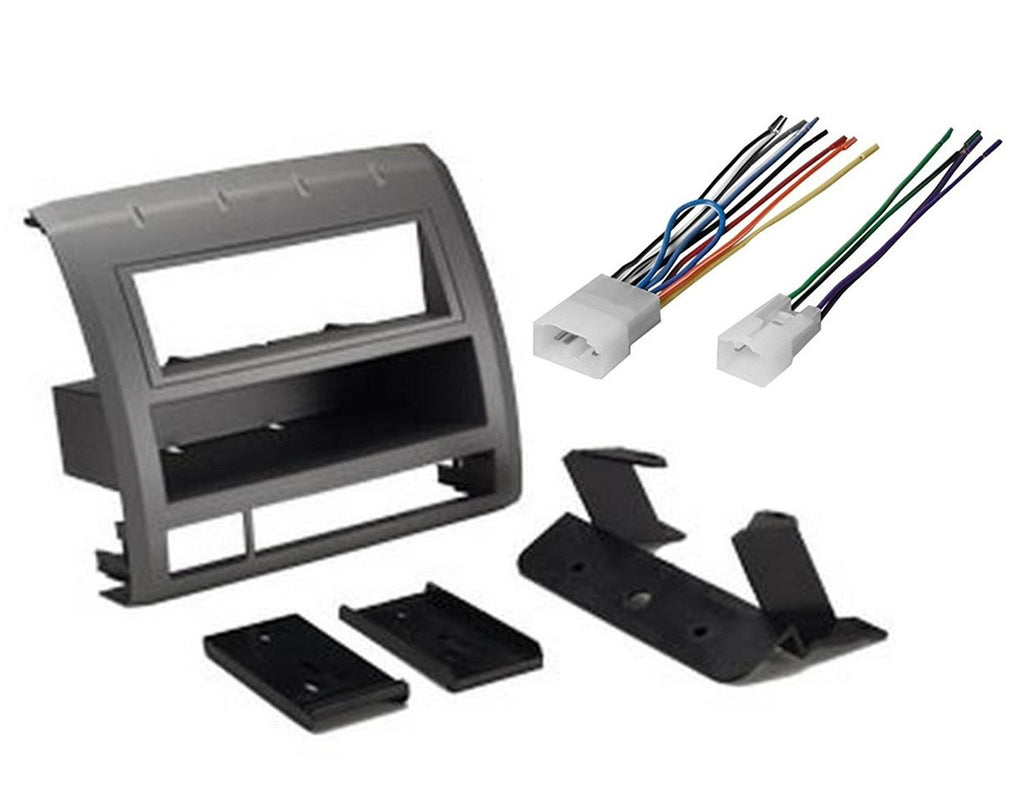 Single Din Car Stereo Radio CD Player Dash Installation Kit Mount Trim + Harness -38