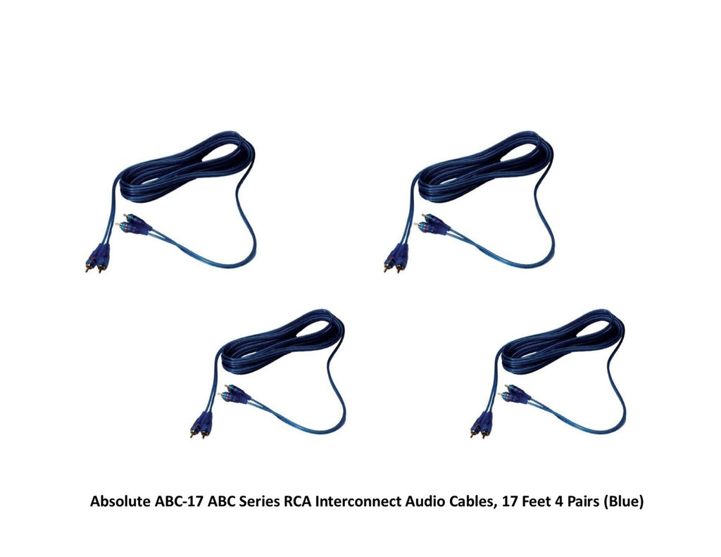 Absolute ABC-17 ABC Series RCA Interconnect Audio Cables, 17 Feet - 4 Pair (Blue)