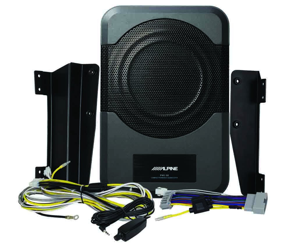 "Alpine PWE-S8-WRA Powered Subwoofer<br/> 8"" Amplified Custom Fit for 2011-up Jeep Wrangler (4 door) - Under Seat Plug and Play 120 Watt Amplified Subwoofer"