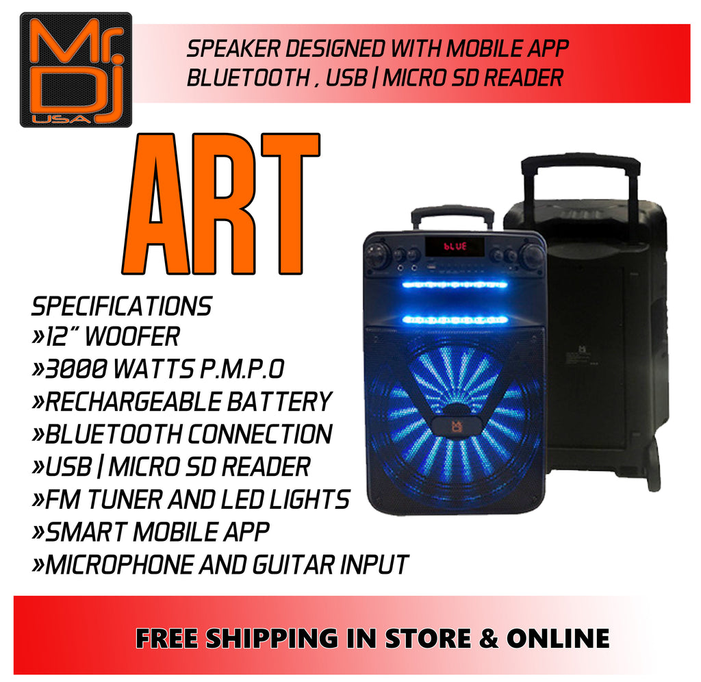 "Mr Dj ART Bluetooth Speaker <BR/>12"" Portable Speaker with Bluetooth/Rechargeable Battery and App Control"