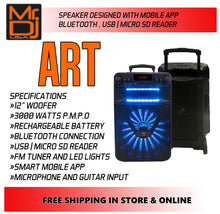 "Load image into Gallery viewer, Mr Dj ART Bluetooth Speaker <BR/>12"" Portable Speaker with Bluetooth/Rechargeable Battery and App Control"