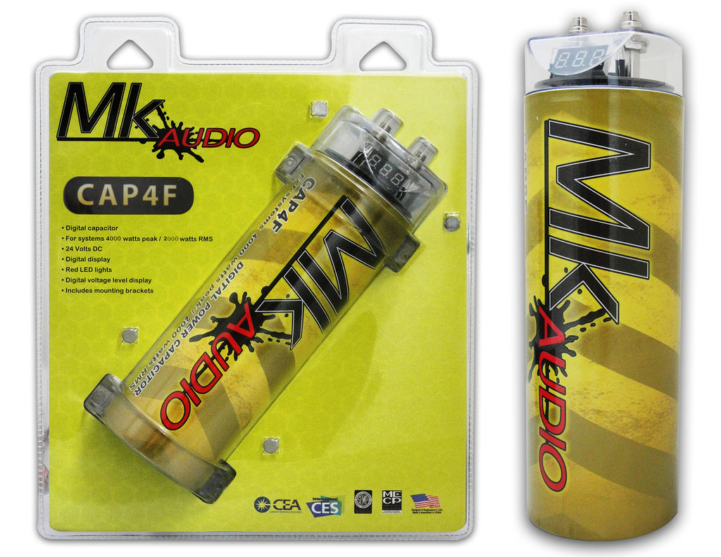 MK AUDIO CAP4F 4 FARAD POWER CAR CAPACITOR FOR ENERGY STORAGE TO ENHANCE BASS DEMAND FROM AUDIO SYSTEM