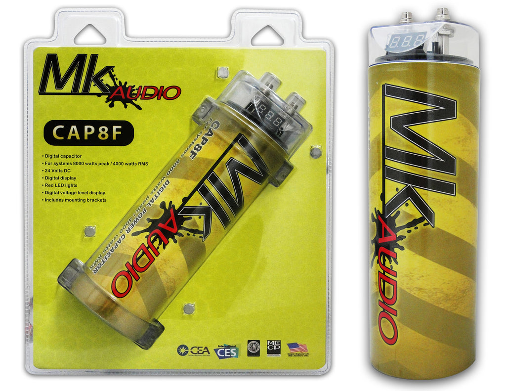 MK AUDIO CAP8F 8 FARAD POWER CAR CAPACITOR FOR ENERGY STORAGE TO ENHANCE BASS DEMAND FROM AUDIO SYSTEM