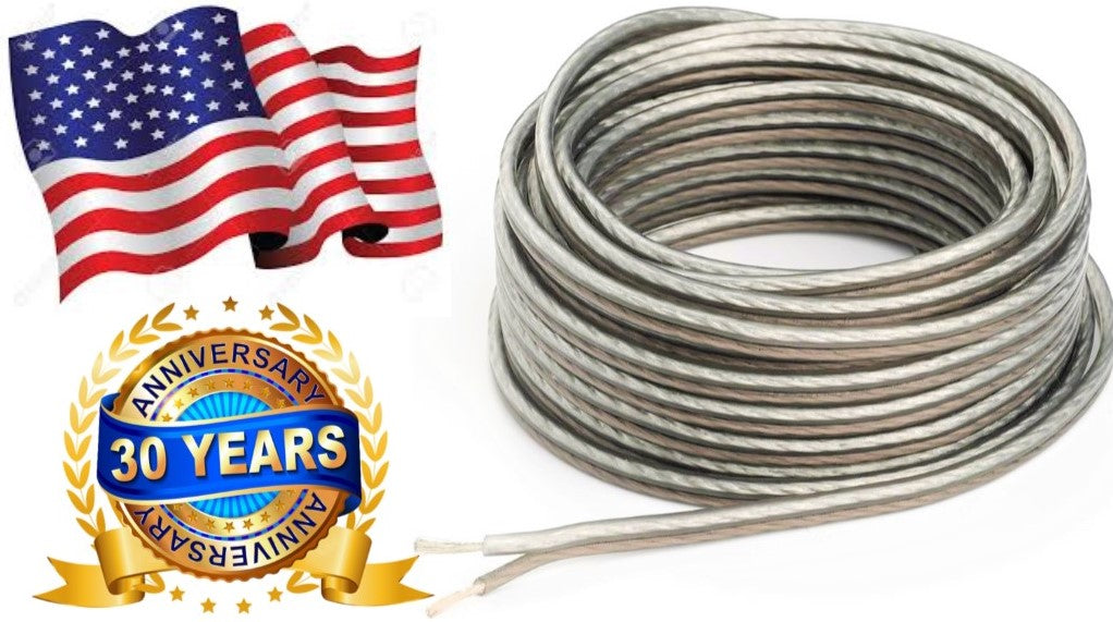 Absolute USA 10' Ft. 18 Gauge Stranded 2 Conductor Speaker Wire Car Marin Home Audio