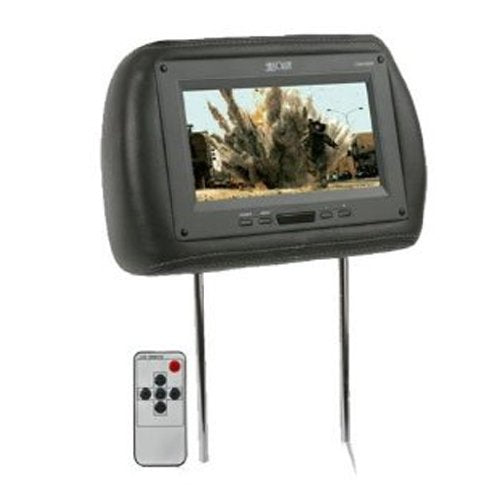 ABSOLUTE COM1210IRG 12-INCH TFT LCD MONITOR LOADED IN GREY LEATHER HEADREST WITH BUILT-IN IR TRANSMITTER