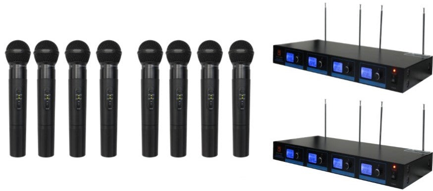 2 Mr Dj MICVHF-8800<br/> 4 Channel Professional PA/DJ/KTV/Karaoke VHF Handheld Wireless Microphone System with Digital Receiver