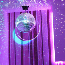 "Load image into Gallery viewer, MR DJ MB16 16"" mirror ball<br/> 16"" mirror ball covered in high quality 1/4-inch mirrored glass and mirror ball motor"