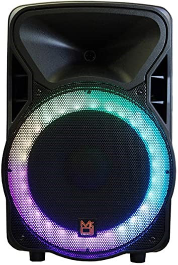 "Mr. Dj OMAHA<BR/> 15"" 2500W Powered PA DJ Karaoke Active Powered Speakers Stands Mic Bundle"