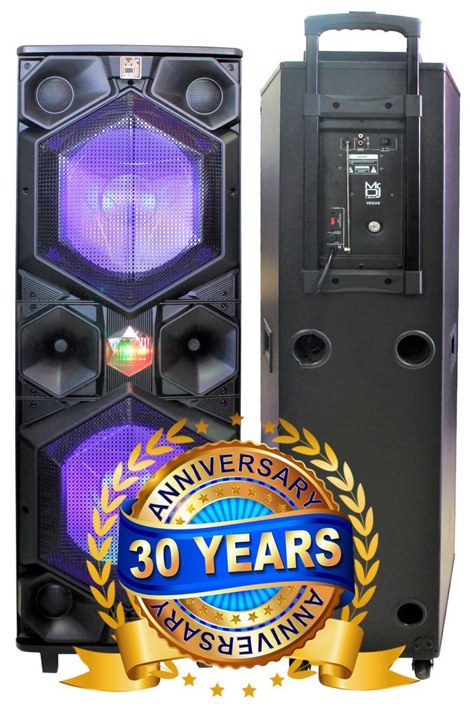 "MR DJ VEGAS Double 15"" Bluetooth Speaker <br/>Professional Dual 15"" 3-Way Full-Range Powered/Active DJ PA Multipurpose Live Sound Loudspeaker"