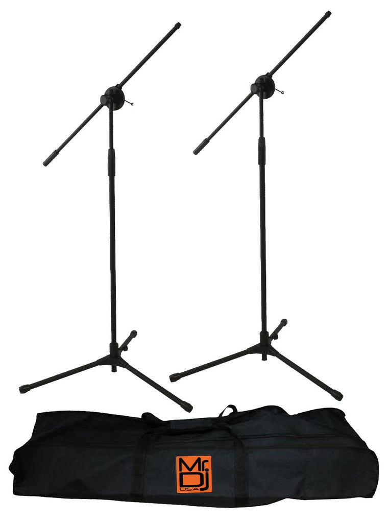 Mr. Dj MS600PKG 2 Microphone Stands Adjustable Boom Stage or Instrument with Mic Holder Clips & Carry Bag