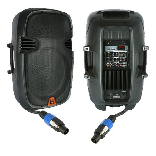 Mr. Dj PBX2610PKG 15'' 2000 Watt Max Peak Momentary Powered 2 Way Full Range Loud Speaker System Package