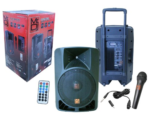 "Mr DJ PLED4000 2-way 15"" Active Full Range Speaker w/ Bluetooth and built in MP3 Player, FM Radio, Microphone and Wireless Remote"