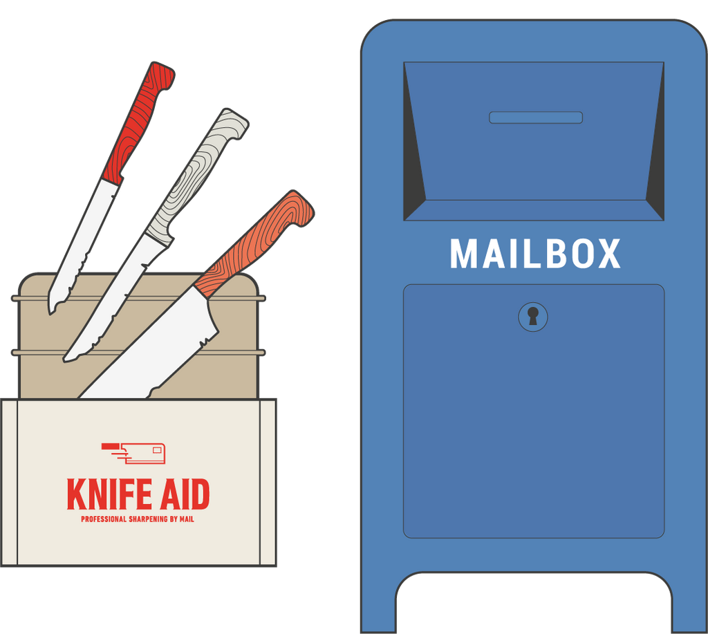Bespoke Knife Aid knife envelope and USPS mailbox illustration