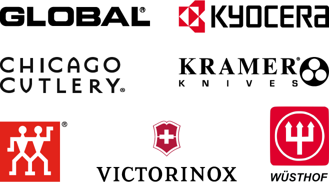 logos of major knife brands such as Global, Zwilling, Kramer