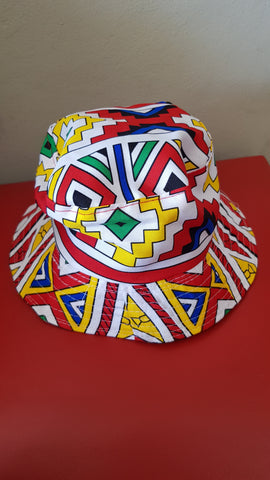 Orange Ndebele Bucket Hats by Tribe Afrique