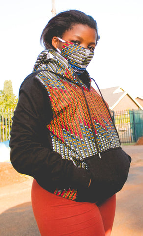 Lindo Hoodie by Tribe Afrique with matching 3-ply mask