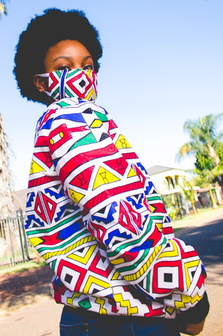 Orange Ndebele African Bomber Jackets with Mask
