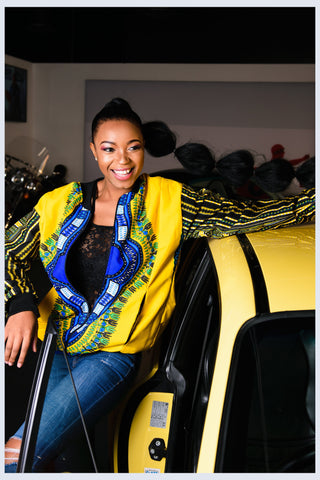 Yellow Dashiki African Bomber Jackets - Mask Included