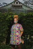 Orange Ndebele African Long Shirt by Tribe Afrique