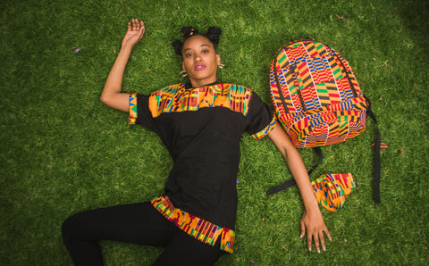Mia KenteAfrican Shirt by Tribe Afrique with Matching Mask