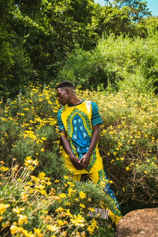 Yellow Dashiki Pants by Tribe Afrique (With Matching Mask)