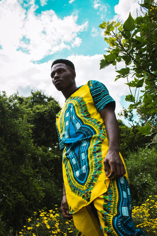 Yellow Dashiki Unisex African Long Shirt by Tribe Afrique