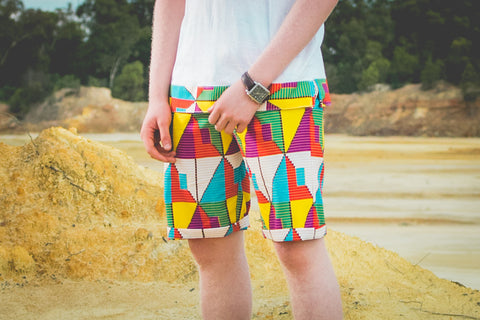 Manya African Shorts by Tribe Afrique with Matching Mask