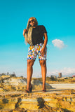Ndebele Kese African Shorts by Tribe Afrique with Matching Mask