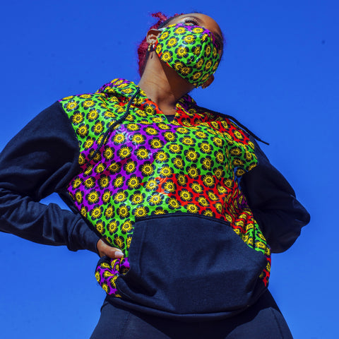 #StopCovid African Hoodie with 3-Ply Mask