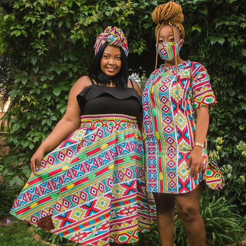 Orange Ndebele High Waist Skirt by Tribe Afrique (With Pockets)