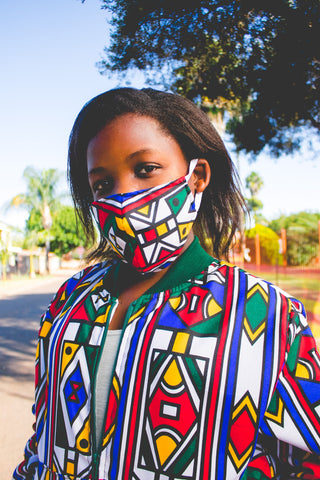 Ndebele African Bomber Jackets with Mask