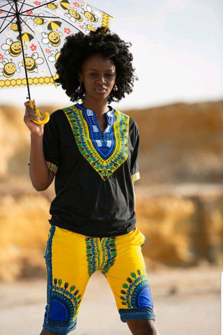 Yellow & Blue Dashiki Shorts by Tribe Afrique with Matching Face Mask