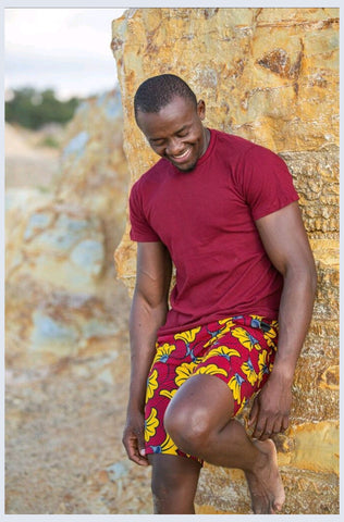 Red Star African Shorts by Tribe Afrique