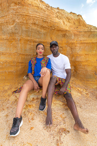 Nii Kente African Shorts by Tribe Afrique with Matching Mask