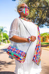 Orange Ndebele  4-Piece Ladies Clucth Bag + Face Mask Set
