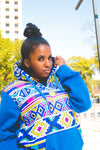 Blue Full Ndebele Hoodie with 3 Ply Mask by Tribe Afrique