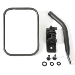 Rugged Ridge Quick Release Rectangular Side Mirror Kit, Textured Black - 2 Piece Set