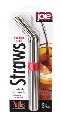 Joie Stainless Steel Straws Set/6 w/Cleaner