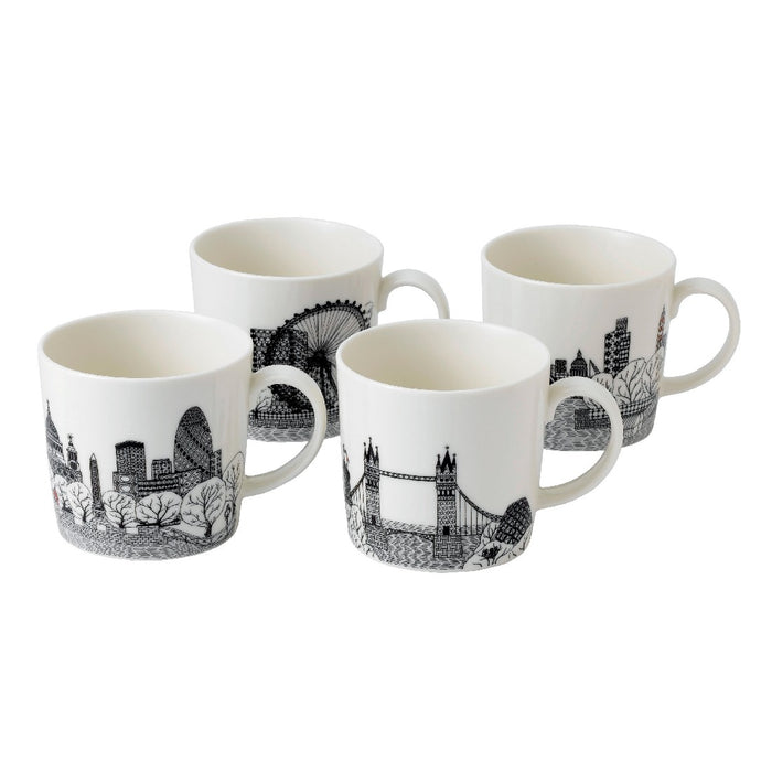 Royal Doulton Charlene Mullen Set of 4 Mugs 22cm - London