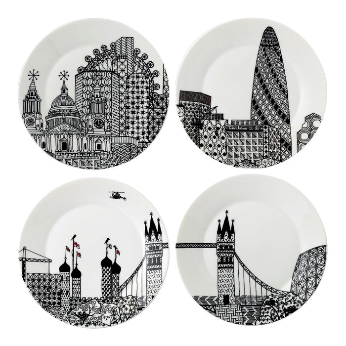 Royal Doulton Charlene Mullen Set of 4 Plates 22cm - London