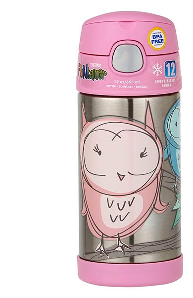 Thermos 355ml FUNtainer® Stainless Steel Vacuum Insulated Drink Bottle - Owl